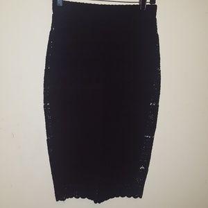 Zara Black Lace overlay pencil skirt